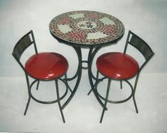 mesa em mosaico c/ 2 cadeiras c�digo 15