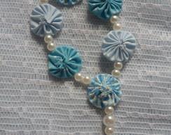 Tercinho Fuxico Azul Patchwork
