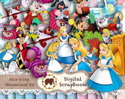 Kit Scrapbook Digital - Alice no Pa�s da