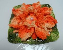 Flor de Croch� Barbante Laranja