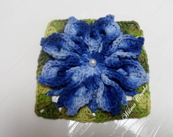 Flor de Croch� Barbante Azul