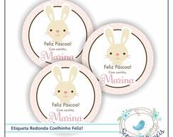 48 Etiquetas P�scoa Coelhinho Feliz