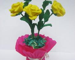 vasinho com 5 rosas