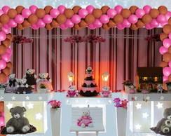 Mesa no proven�al  ursinho rosa /marron