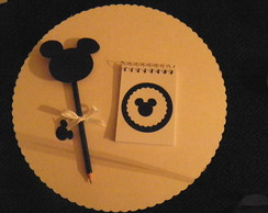 kit bloquinho decorado do mickey e l�pis