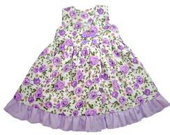 Vestido Florido Lil�s Babados 1006