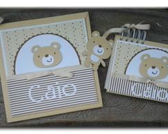 kit Di�rio Do Beb� e caderno urso fofo