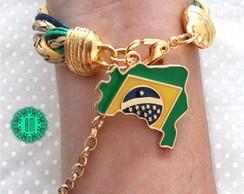 Pulseira Tran�ada Brasil