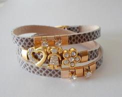 Wrap bracelete cobra figuras em strass