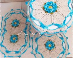 Jogo de Banheiro Flor Carm�lia de croch�