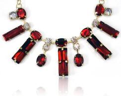 Maxi Colar c/ Pedras Vermelho Cristal