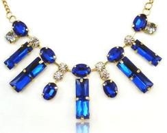 Maxi Colar com Pedras Azul Cristal