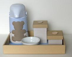 Kit de Higiene Urso azul e bege