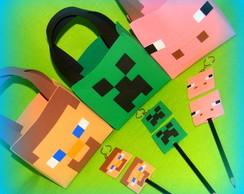 Kit Minecraft bolsa, chaveiro e ponteira