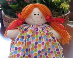 """Boneca de pano - """"LILA"""" bolinhas"""