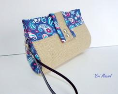 Carteira de M�o - Juta & Arabesco Azul