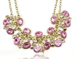 Maxi Colar com Pedras Rosa Cristal