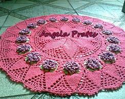 Tapete redondo rosa com flores