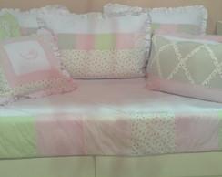 Kit solteiro patchwork floral rosa