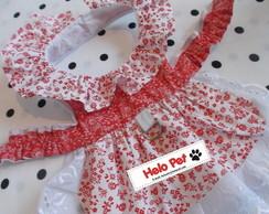 Vestido Floral Vermelho e Branco