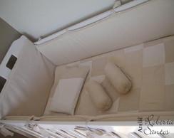 Kit Ber�o-patchwork bege/branco - 9 P�s