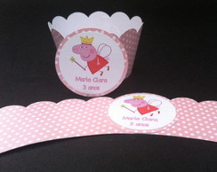 Cupcake Wrapper com tag Peppa Pig