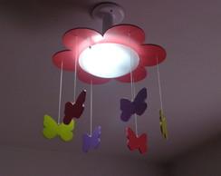 lumin�ria lustre flor com borboletas
