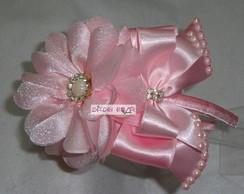 Tiara Flor c/ la�o rosa