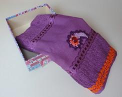 Toalha com croch� em caixa forrada