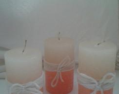 Trio velas r�sticas cil�ndricas - salm�o