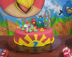 Bolo decorado do Angry Birds