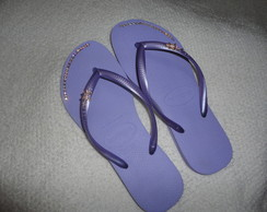 Havaiana Slim lilas customizada