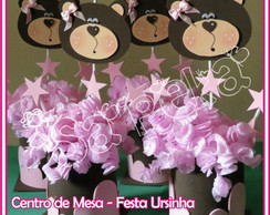 Centro de mesa - Ursinha Marrom e Rosa