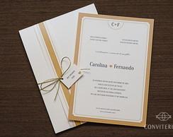 Convite Casamento Moldura Papel Perolado