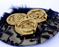 Casquete Cetim, Renda, Flores em Dourado