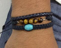 Kit pulseiras olho de tigre e turquesa