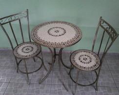 mesa de mosaico c/2 cadeiras c�d 53