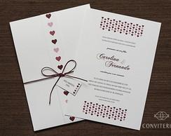 Convite Casamento Cora��o Papel Branco
