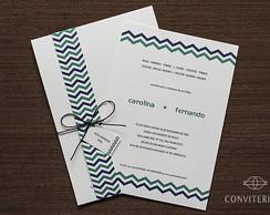 Convite Casamento Ritmo Papel Branco