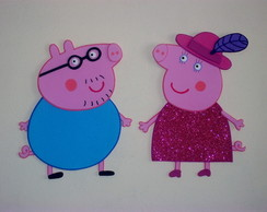 KIT 14 PERSONAGENS PEPPA PIG-PAINEL