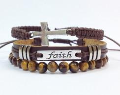 Kit pulseiras faith (f�) e olho de tigre