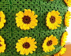 Almofada Girassol em crochet