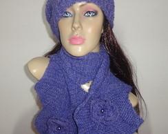 cachecol feminino em tric�(conjunto)