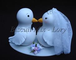 Topo de Bolo casamento-pombos