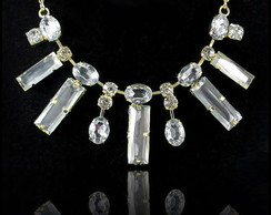 Maxi Colar Geometrico Pedras Cristal