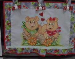 Cortina para fog�o casal de porquinho