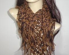 cachecol feminino em l� feito em croch�