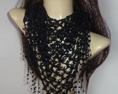 Len�o de pesco�o em croch� (preto)