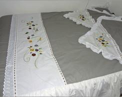 Jogo len�ol de cama casal cinza bordado