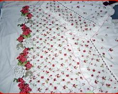 Jogo len�ol de cama casal branco florido